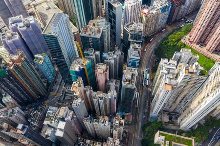 North Point, Hong Kong 01 June 2019: Top view of Hong Kong island