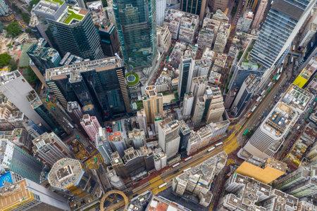 Causeway Bay, Hong Kong 01 June 2019: Top view of Hong Kong commercial district Editöryel