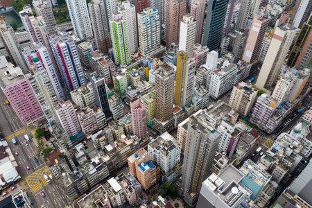 Yau Ma Tei, Hong Kong 09 May 2019: Top view of Hong Kong city Editöryel