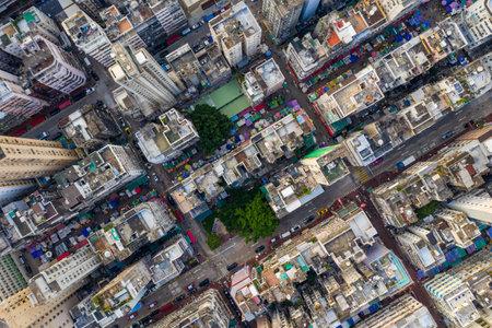 Yau Ma Tei, Hong Kong 25 September 2019: Aerial view of Hong Kong city