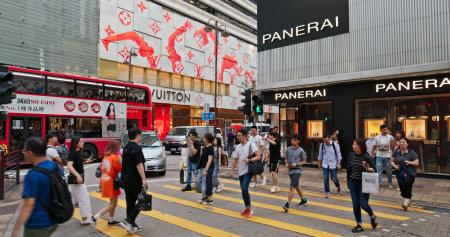 Tsim Sha Tsui, Hong Kong 16 July 2019: People walk in the street