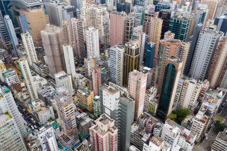 Mong Kok, Hong Kong 09 May 2019: Top view of Hong Kong urban city Editöryel