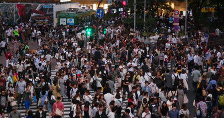 Tokyo, Japan, 28 June 2019: Shibuya cross in Tokyo city