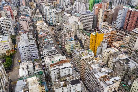 Sham Shui Po, Hong Kong 07 May 2019: Top view of Hong Kong city in kowloon side Editöryel