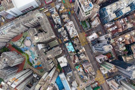 Hung Hom, Hong Kong 21 April 2019: Top down view of Hong Kong city building