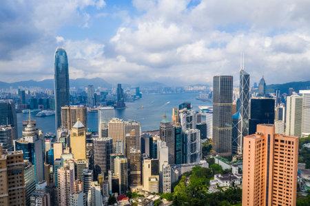 Central, Hong Kong, 30 April 2019: Drone fly over Hong Kong city