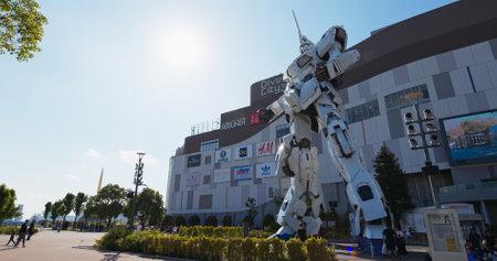Tokyo, Japan 30 June 2019: Unicorn robot statue in odaiba