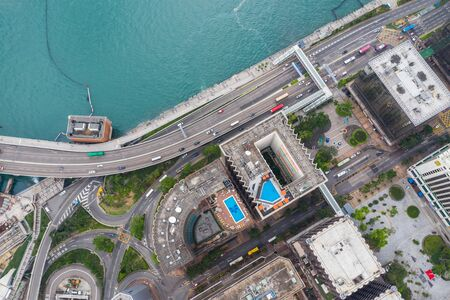 Tsim Sha Tsui East, Hong Kong 21 April 2019: Top view of Hong Kong city