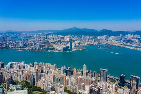 Hong Kong 22 September 2019: Aerial view of Hong Kong city