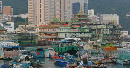 Aberdeen, Hong Kong 12 May 2019: Hong Kong harbor port in aberdeen Editöryel