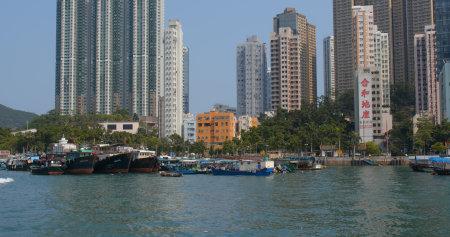 Aberdeen, Hong Kong 12 May 2019: Hong Kong fishing harbor port Editöryel