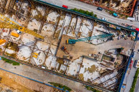 Kai Tak, Hong Kong 12 May 2019: Top view of Hong Kong construction site