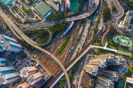 Kowloon Bay, Hong Kong 25 April 2019: Aerial view of Hong Kong city