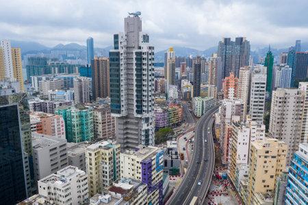 To Kwa Wan, Hong Kong 17 May 2019: Top view of Hong Kong residential district