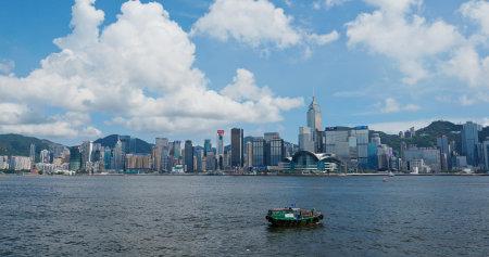 Victoria Harbor, Hong Kong 26 July 2019: Hong Kong city