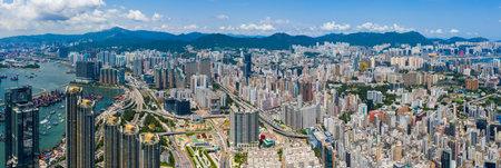 Mong Kok, Hong Kong 10 September 2019: Top view of Hong Kong city Editöryel