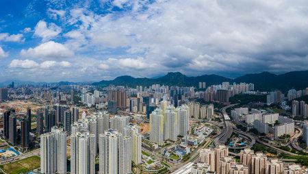 Kai Tak, Hong Kong 12 September 2019: Hong Kong skyline in Kowloon side