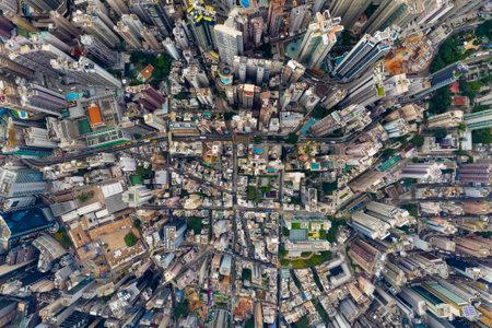 Central, Hong Kong 24 September 2019: Drone fly over Hong Kong city