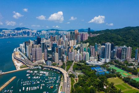 Causeway Bay, Hong Kong 11 September 2019: Top view of Hong Kong island