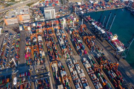 Kwai Tsing, Hong Kong, 12 February 2019: Container Terminals in Hong Kong 新闻类图片