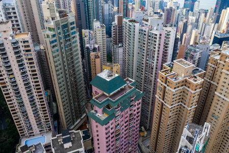 Central, Hong Kong 29 April 2019: Top view of Hong Kong city