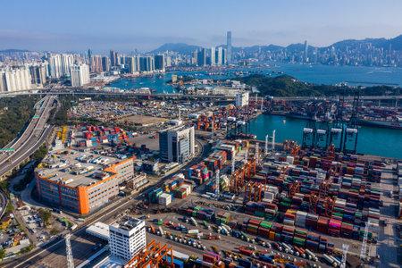 Kwai Tsing, Hong Kong, 12 February 2019: Aerial of Container Terminals in Hong Kong