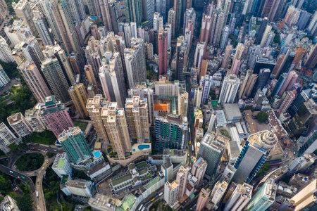 Central, Hong Kong 29 April 2019: Top view of city of Hong Kong 新闻类图片