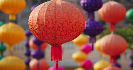 Colorful chinese style lantern hanging outdoor for mid autumn festival