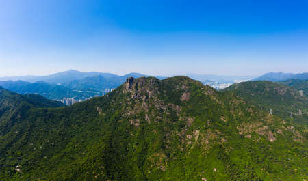 Hong Kong lion rock mountain with clear blue sky