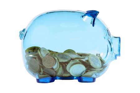 Blue transparent piggy bank with euro coins. photo