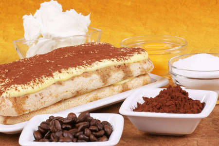 Tiramis� cake and the ingredients to prepare it: mascarpone, eggs, sugar, coffee and cocoa. Studio shot. Shallow DOF.