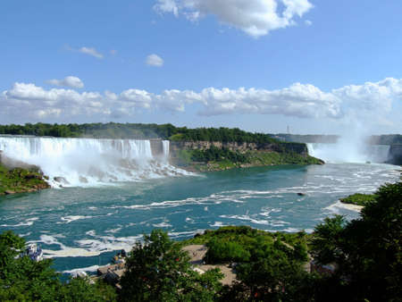 American Falls and Horseshoe Falls on Niagara river Stock Photo