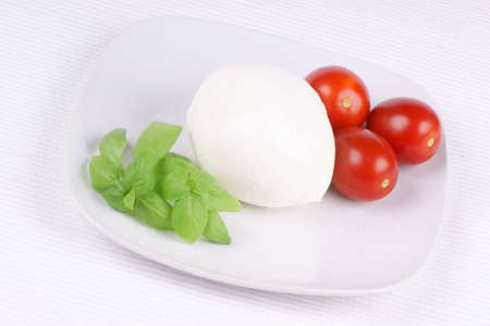 Basil, mozzarella di bufala (buffalo mozzarella) and cherry tomatoes on a white plate. Could be used as italian flag symbol.