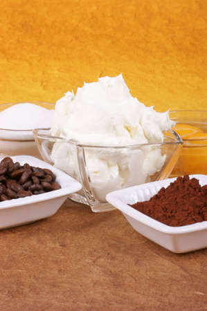 Tiramis� ingredients: mascarpone, eggs, sugar, coffee and cocoa powder