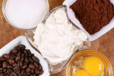 mascarpone: Tiramis� ingredients: mascarpone, eggs, sugar, coffee and cocoa powder