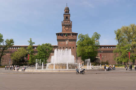 Milan, Italy - April 7, 2011: Main entrance of Castello Sforzesco (Sforza castle) in Piazza Castello (Castle square), Milan. Its construction began in the 15th century and the castle was modified in the following centuries.