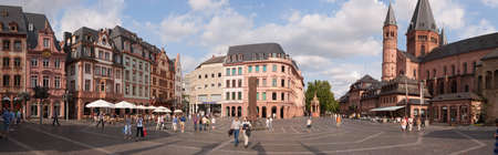 Marktplatz (Market square) in Mainz, Germany. The square is surrounded by Baroque buildings and the Cathedral, which construction began in 975. The original building was deeply modified and expanded in the following centuries.