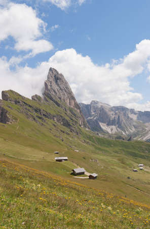 odle: Dolomites (Italian Alps): Grande Fermeda and Gruppo delle Odle. This mountain range is located in South Tyrol between Val di Funes (Villnoesstal in German) and Val Gardena (Groednertal in German). Stock Photo
