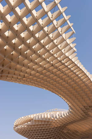 eggtray: The Metropol Parasol in Plaza de la Encarnacion in Seville, designed by J. Mayer H. architects. This futuristic structure, which was inaugurated in 2011, is made from bonded timber with a polyurethane coating. It houses a market, a museum and an elevated