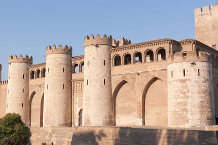 The Aljaferia Palace in Zaragoza. This fortified Islamic palace was built in the 11th century and it housed the Banu Hud dynasty. During the following centuries the palace underwent various alterations and it was restored in the 20th century. Editorial