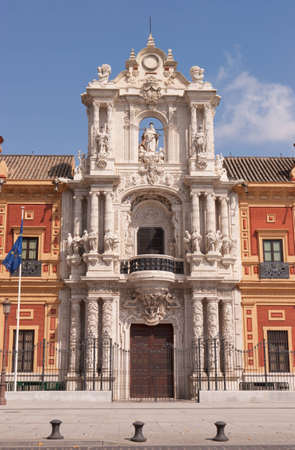 Baroque (churrigueresque) facade of the Palace of San Telmo in Seville. Its costruction began in 1682 and it housed the University of Navigators. At present it is the seat of the presidency of the Andalusian Autonomous Government Editorial