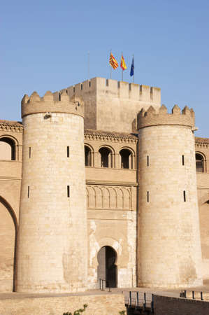 11th century: The Aljaferia Palace in Zaragoza. This fortified Islamic palace was built in the 11th century and it housed the Banu Hud dynasty. During the following centuries the palace underwent various alterations and it was restored in the 20th century. Stock Photo