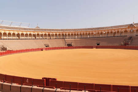 Plaza de Toros in Seville. It is the oldest bullring in Spain. Its construction began in 1749 and ended in 1881. Every year it houses the Feria de Abril, a bullfighting festival known all over the world.