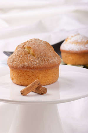 Cinnamon muffin served on a white cake stand. A muffin decorated with icing sugar is out of focus in the background. Selective focus, shallow DOF
