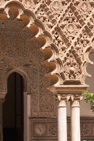 characterized: Detail of mudejar decorations in Seville. Mudejar style spread in Spain between the 12th and 16th century and it is strongly characterized by Islamic influences.