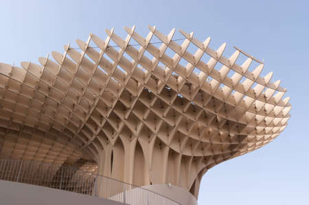 Metropol Parasol in Plaza de la Encarnacion in Seville, designed by J. Mayer H. architects. This futuristic structure, which was inaugurated in 2011, is made from bonded timber with a polyurethane coating. It houses a market, a museum and an elevated plaz Stock Photo - 12339501
