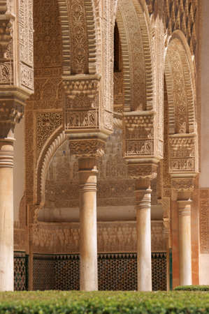 Detail of mudejar architecture in the Royal Alcazar of Sevilla. Mudejar style evolved in the 12th century in the Iberian peninsula. It is characterized by Islamic influences.