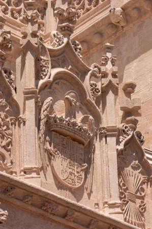 queen isabella: Architectural detail of the Royal Chapel in Granada: coat of Arms of Queen Isabella of Castile Editorial