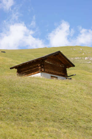 Wooden storehouse in a mountain field