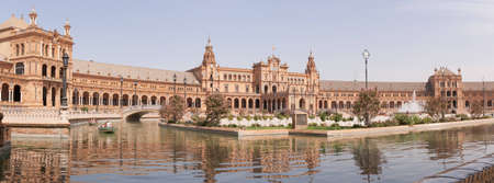 Panoramic view of Plaza de Espana in Seville. Plaza de Espana was designed by Anibal Gonzalez for the Ibero-American Exposition World